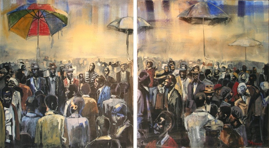 RICKY DYALOYI, Calling From a Distant Plain(Diptych) 2011, Mixed Media on Canvas