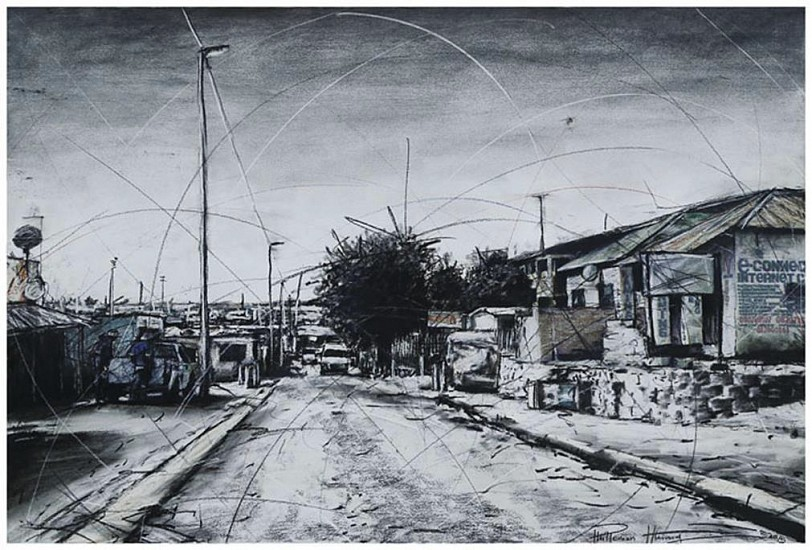 PHILLEMON HLUNGWANI, SELBORN STREET & 10th AVENUE (ALEX) II Mixed Media on Paper