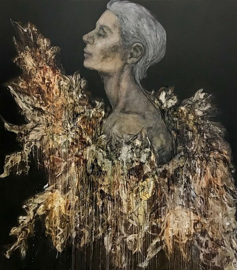 SHANY VAN DEN BERG, FIREBIRD 2017, OIL AND CHARCOAL ON BOARD