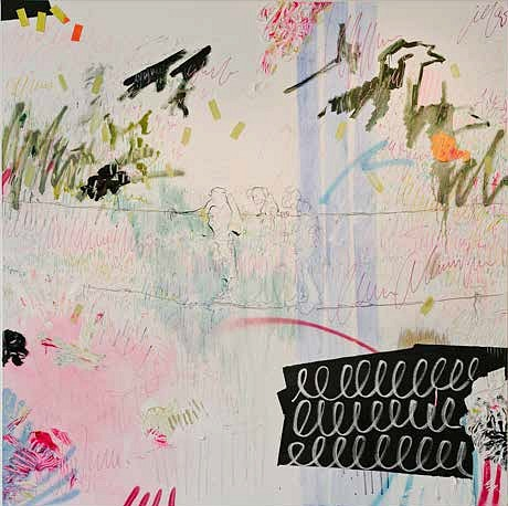 ELIZE VOSSGATTER, A VOYAGE OF FOLLY 2017, OIL PAINT, SHARPIES, BEESWAX, PIGMENT, CHALKBOARD PAINT, PENCIL & TAPE ON CANVAS