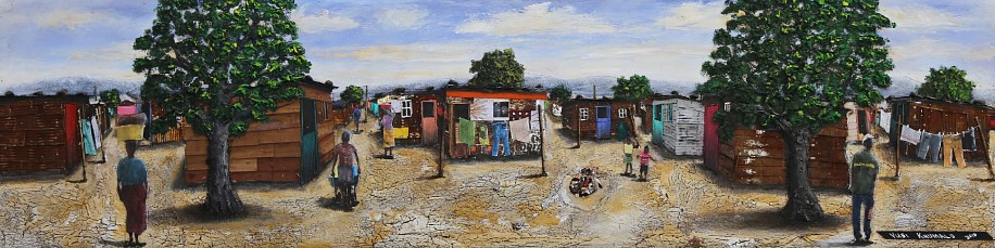 VUSI KHUMALO, ISIQALO INFORMAL SETTLEMENT 2018, MIXED MEDIA ON PLYWOOD BOARD