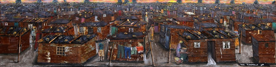 VUSI KHUMALO, ISITHEMBISO INFORMAL SETTLEMENT 2018, MIXED MEDIA ON PLYWOOD BOARD
