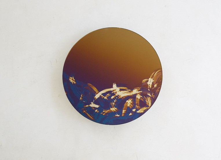 WARTHER DIXON, SELF PORTRAIT I 2019, PURPLE TO GOLD GRADIENT AND SILVER ON GLASS
