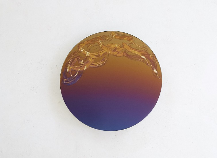 WARTHER DIXON, SELF PORTRAIT II 2019, PURPLE TO GOLD GRADIENT AND SILVER ON GLASS