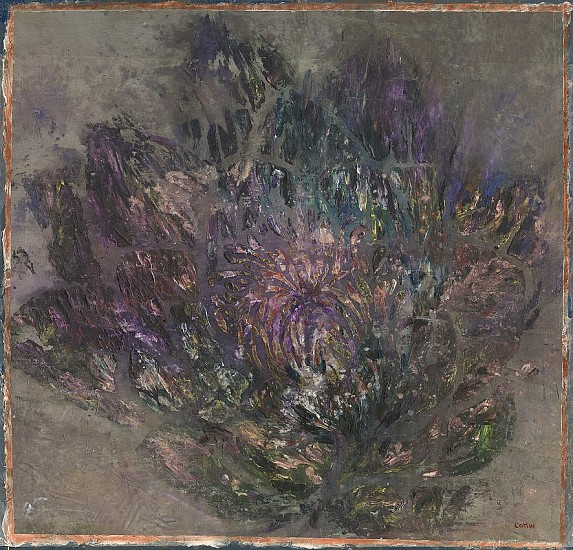 GAIL CATLIN, WINTER JOY 2020, MIXED MEDIA AND METAL DUST ON HAND SPUN SILK