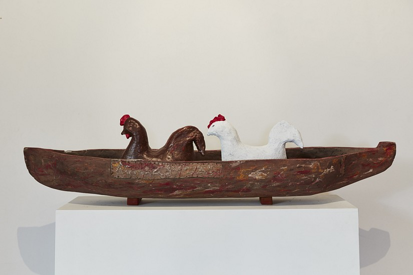 WILMA CRUISE, HIGGITY PICKETY MY BLACK HEN 2019, CERAMIC AND FOUND OBJECT (WOODEN BOAT)