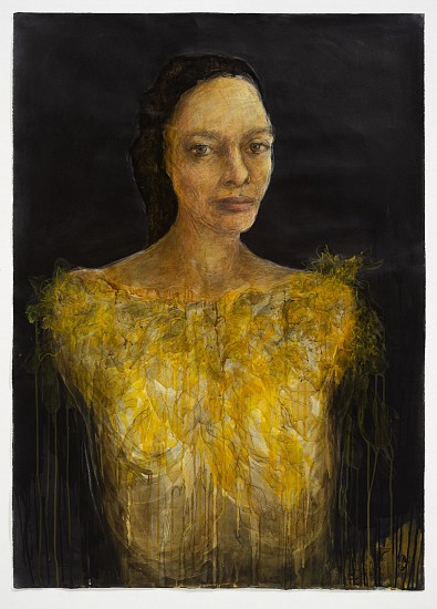 SHANY VAN DEN BERG, YELLOW DAISY 2021, MIXED MEDIA ON 300GMS ZERKALL PAPER